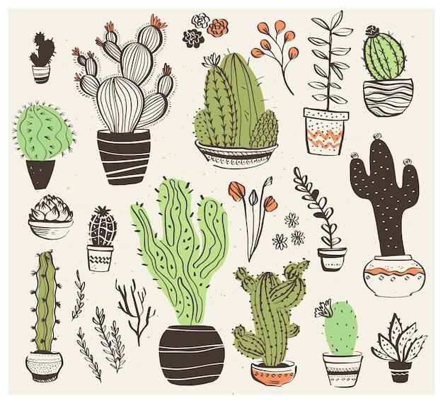 Wektor zbiory ręcznie rysowane różne kształty kaktusów na białym tle. modny styl szkicu. idealny do wzorów, dekoracji, kart, opakowań, logo, banerów, reklam, nadruków itp.