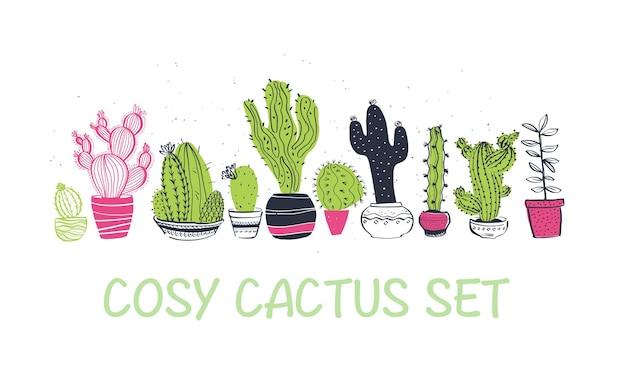 Wektor zbiory ręcznie rysowane różne kształty kaktusów stojących w rzędzie na białym tle. modny styl szkicu. idealny do wzorów, dekorów, kartek, opakowań, logo, banerów, reklam, nadruków.