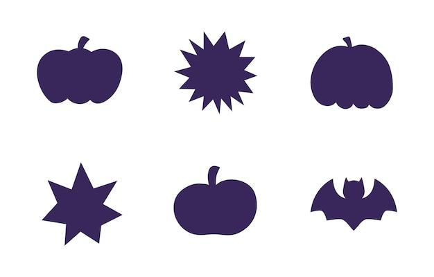 Wektor zbiory różnych ślicznych czarnych sylwetek halloween.