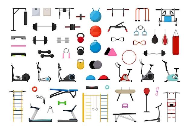 Wektor zbiory sprzętu sportowego na siłownię.