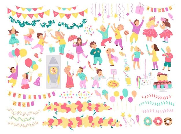 Wektor zbiory urodzinowe dla dzieci, elementy pomysł na wystrój na białym tle - pinata, rakieta, balony, ciasto, wianek. płaskie ręcznie rysowane stylu cartoon. na kartę, wzór, tag, zaproszenie.