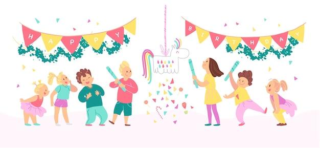 Wektor zbiory urodziny party szczęśliwy dzieci z balonami, grając pinata i świętując na białym tle. płaskie ręcznie rysowane stylu cartoon. dobry na kartę, wzór, metkę, zaproszenie itp.
