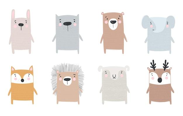 Wektor zbiory zabawnych zwierząt doodle