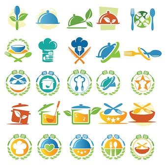 Wektor zbiory żywności i gotować projekt logo