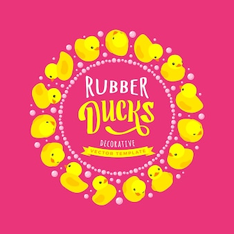 Wektor zdobienia wykonane z żółtych gumowych kaczek