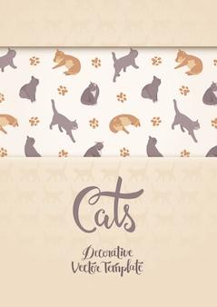 Wektor zdobienia z kotami