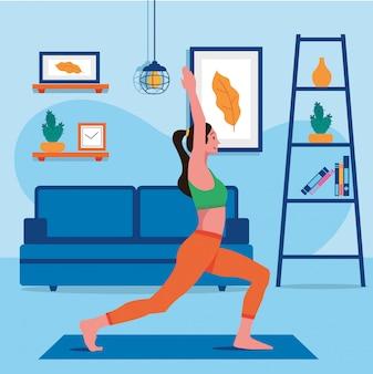 Wektor zdrowia kobiet treningu w domu