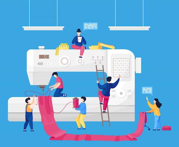 Wektor zespół małych krawcowych mody tworzy strój na dużej maszynie do szycia