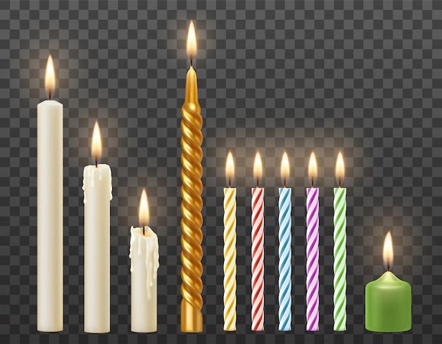 Wektor zestaw 3d realistyczne płonące białe świece, tort urodzinowy kolorowe skręcone świece. na przezroczystym tle