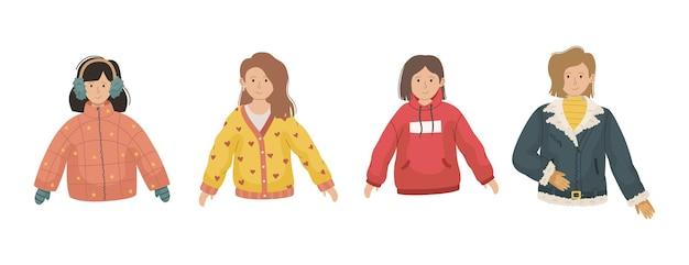 Wektor zestaw 4 ilustracji z dziewczynami w zimowe ubrania.