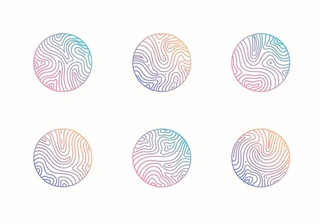 Wektor zestaw abstrakcyjnych falistych minimalnych organicznych logo marmurowa linia godła do drukowania znaczków biznesowych