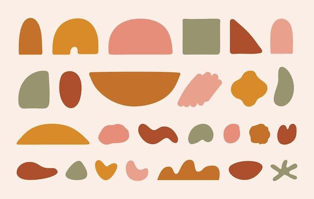 Wektor zestaw abstrakcyjnych kształtów geometrycznych modny organiczny i minimalistyczny design