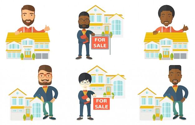 Wektor zestaw agentów nieruchomości i właścicieli domów.