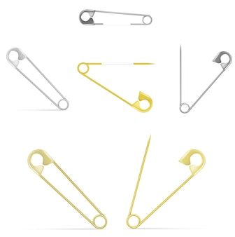 Wektor zestaw agrafek - srebrny i złoty, otwarty i zamknięty