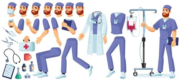 Wektor zestaw animacji postaci lekarza kreskówek
