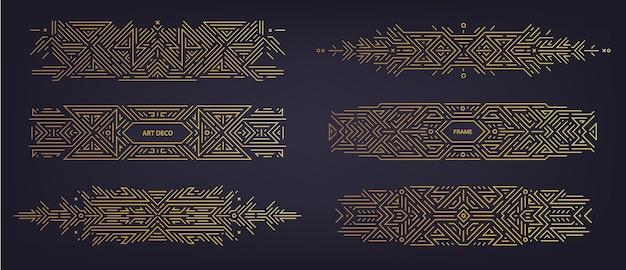 Wektor zestaw art deco dzielniki liniowe, obramowania, ramki, elementy dekoracyjne. kreatywne geometryczne abstrakcyjne szablony w klasycznym stylu retro lat dwudziestych. używaj do pakowania, reklamy, jako baner, dekoracja