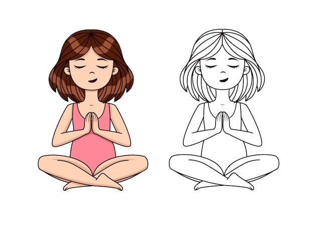 Wektor zestaw asan jogi. śliczna dziewczyna medytuje w joga treningu. kolorowy i konturowy rysunek treningu jogi pozycji