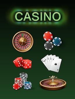 Wektor zestaw atrybutów hazardu w kasynie koło ruletki pokerowej, niebieskie, czarne żetony, czerwone kości, poker królewski i neon szyld widok z boku z góry na białym tle na zielonym tle