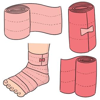 Wektor zestaw bandaż medyczny