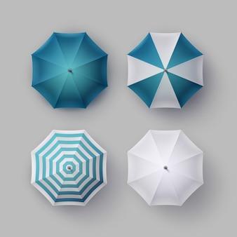 Wektor zestaw biały, niebieski, paski, puste, klasyczne, otwarty, okrągły, deszczowy parasol, parasol