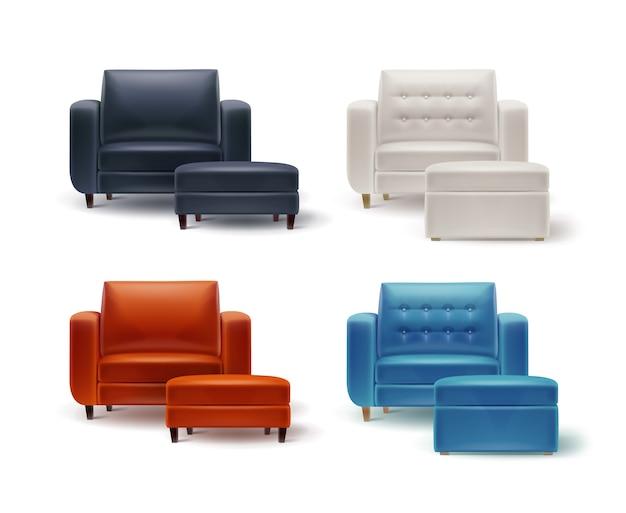Wektor zestaw biały, pomarańczowy, brązowy, czarny, niebieski fotele z wyściełanymi stołkami widok z przodu na białym tle