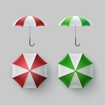 Wektor zestaw biały, zielony, czerwony, białe paski, pusty, klasyczny, otwarty, okrągły, parasol przeciwdeszczowy