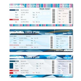 Wektor zestaw biletów kolejowych. karta kolejowa, ilustracja pasażera podróży