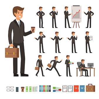 Wektor zestaw biznesmen w różnych pozach akcji z akcesoriami. śmieszne postacie biznesmen osoba w innej pozie, ilustracji wektorowych