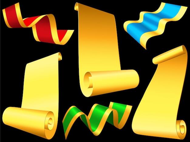 Wektor zestaw błyszczących wstążek i zwojów papieru