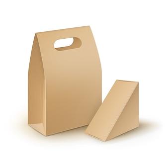 Wektor zestaw brązowy prostokąt pusty karton