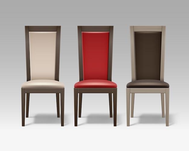 Wektor zestaw brązowych drewnianych krzeseł pokoju z miękką beżową, czerwoną tapicerką na białym tle na tle