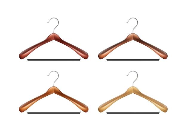 Wektor zestaw brązowych drewnianych wieszaków na ubrania z bliska na białym tle