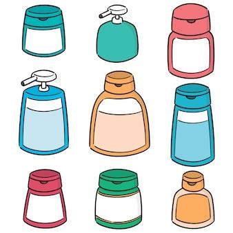 Wektor zestaw butelek szamponu i mydła w płynie