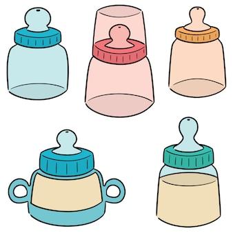 Wektor zestaw butelki dla niemowląt
