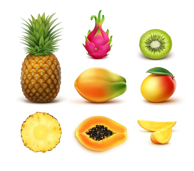 Wektor zestaw całe i pół pokrojone owoce tropikalne ananas, kiwi, mango, papaja, smoczy owoc na białym tle