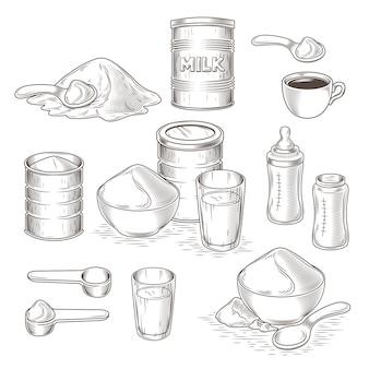 Wektor zestaw cartoon ilustracji mleko w proszku
