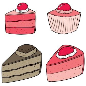 Wektor zestaw ciasta