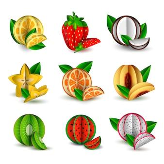 Wektor zestaw cięcia owoców tropikalnych lato papieru