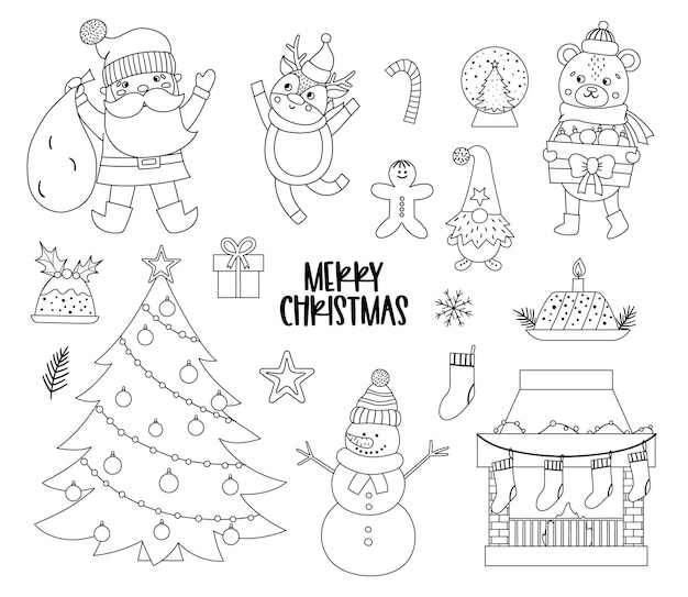 Wektor zestaw czarno-białych elementów bożego narodzenia z santa claus, jelenie, jodła, prezenty na białym tle. słodkie śmieszne zimowe ikony ilustracja do dekoracji lub projekt nowego roku.
