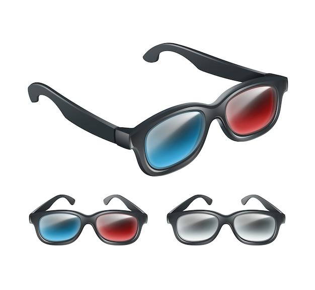 Wektor zestaw czarnych plastikowych okularów 3d w perspektywie na białym tle na szarym tle