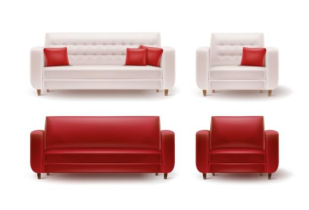 Wektor zestaw czerwonych, białych foteli, sofy i poduszki widok z przodu na białym tle