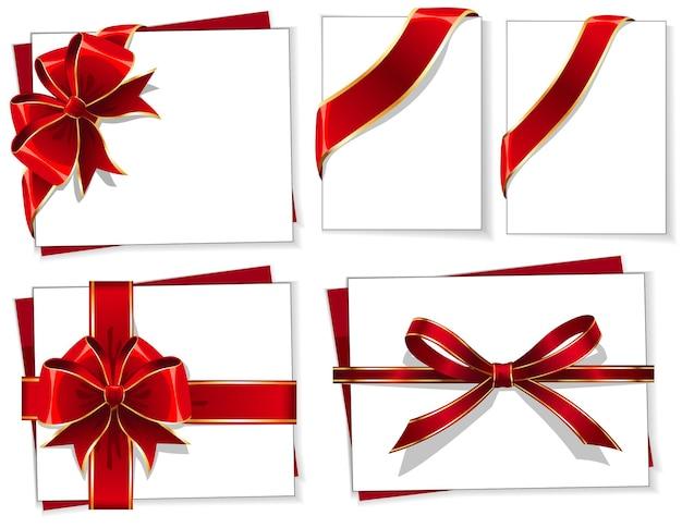 Wektor zestaw czerwonych kokardek prezent z wstążkami