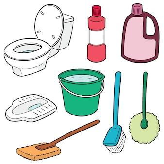 Wektor zestaw czyszczenia wc