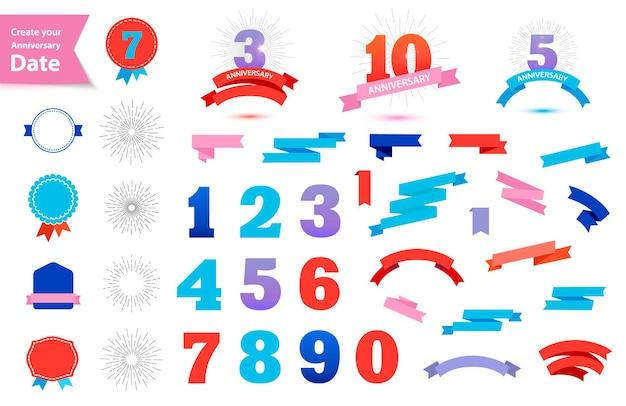 Wektor zestaw dat rocznicowych stwórz własny znak rocznicowy