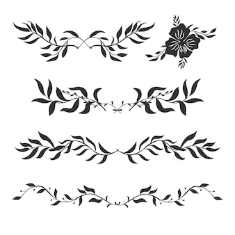 Wektor zestaw dekoracyjnych sylwetek roślin