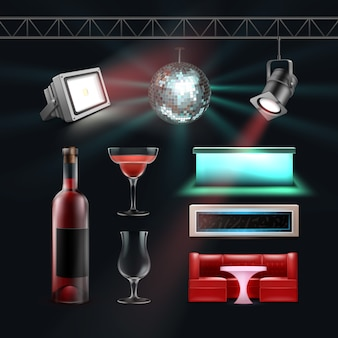 Wektor zestaw do klubu nocnego kula dyskotekowa, lady barowe, kieliszek, butelka wina, reflektory sufitowe i podłogowe