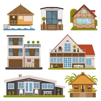 Wektor zestaw domu i mieszkania. domy turystyczne na białym tle.