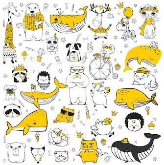 Wektor zestaw doodle hipster zwierząt idealny do projektowania kart okolicznościowych tshirt drukuje i plakaty dla dzieci