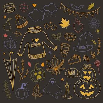 Wektor zestaw doodli z jesiennymi obiektami związanymi z żółtymi liśćmi dynie parasole ciepły sweter