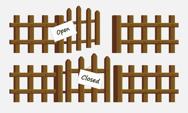 Wektor zestaw drewnianych ogrodzeń ze znakami z otwartą i zamkniętą bramą śliczny obrazek w stylu kreskówki